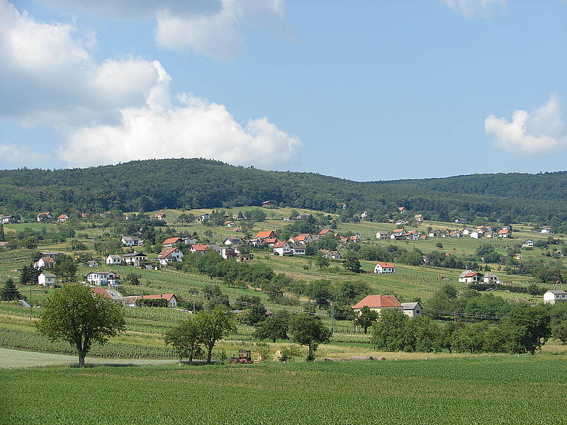 Ausblick auf das Weingebiet Rechnitz, blauer Himmel, Häuser